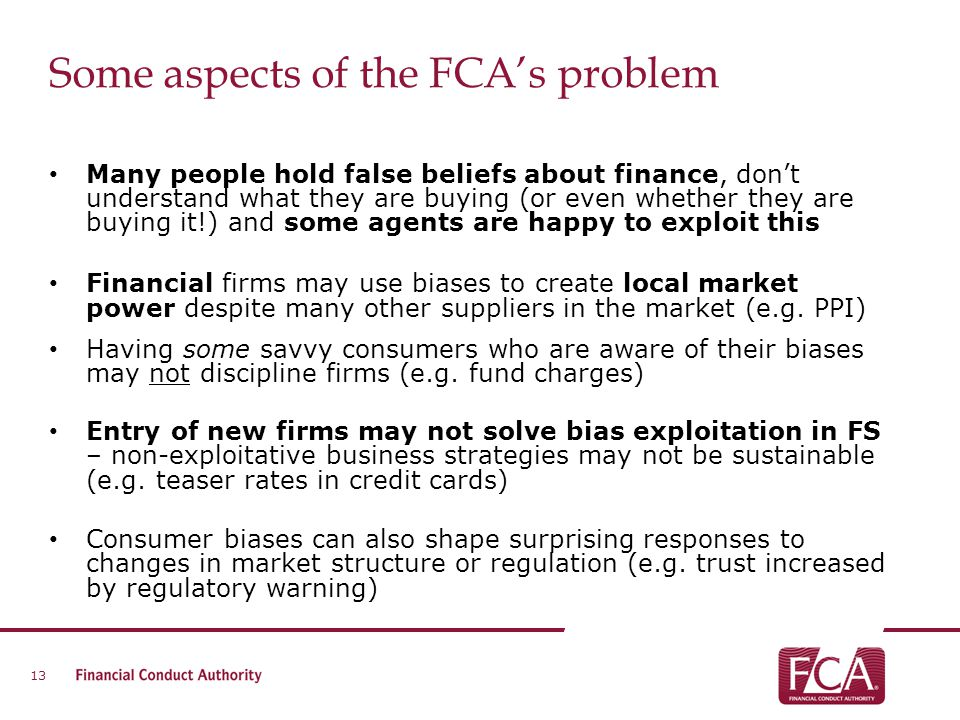 Some aspects of the FCA's problem