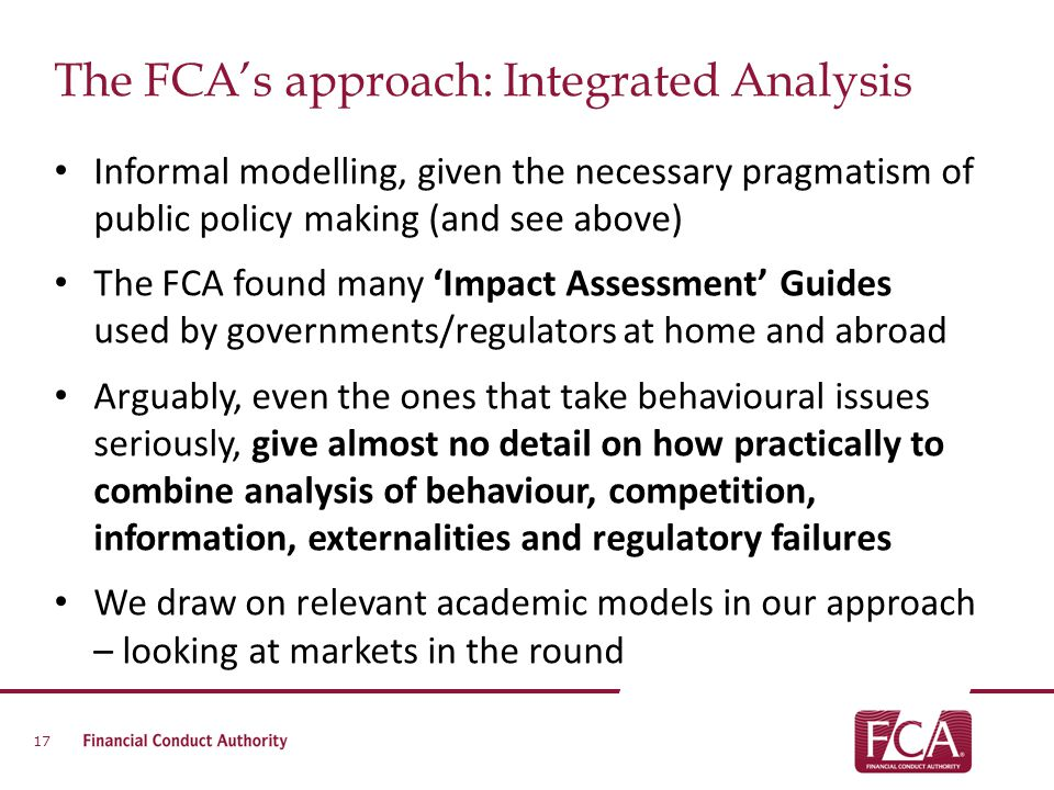 The FCA's approach: Integrated Analysis