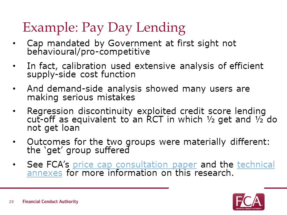 Example: Pay Day Lending