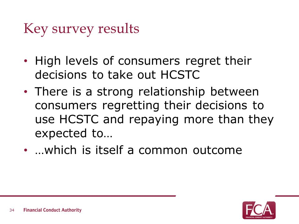 Key survey results High levels of consumers regret their decisions to take out HCSTC.