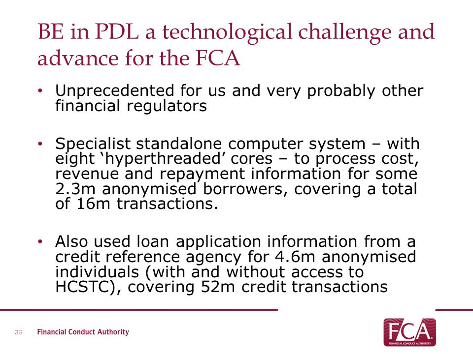 BE in PDL a technological challenge and advance for the FCA