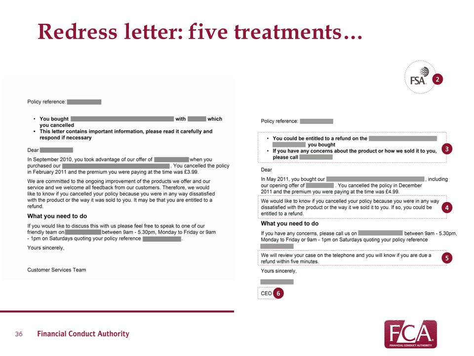 Redress letter: five treatments…