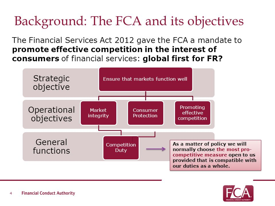 Background: The FCA and its objectives