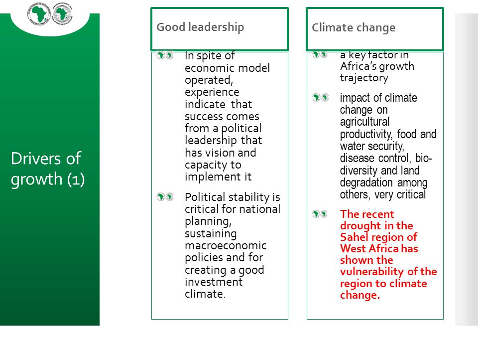Drivers of growth (1) Good leadership Climate change
