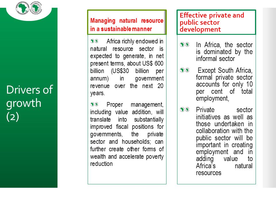 Drivers of growth (2) Effective private and public sector development