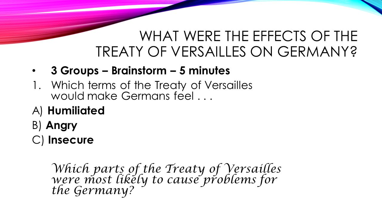 What were the effects of the Treaty of Versailles on Germany
