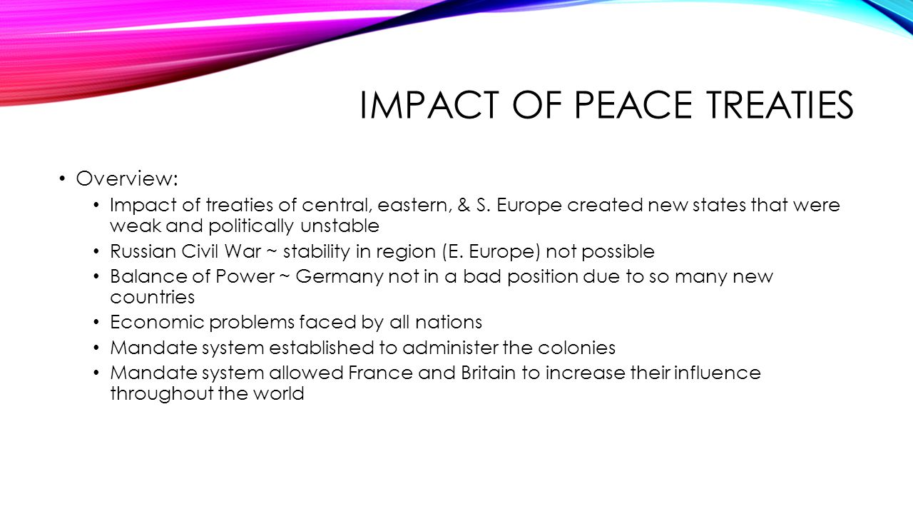 Impact of Peace treaties
