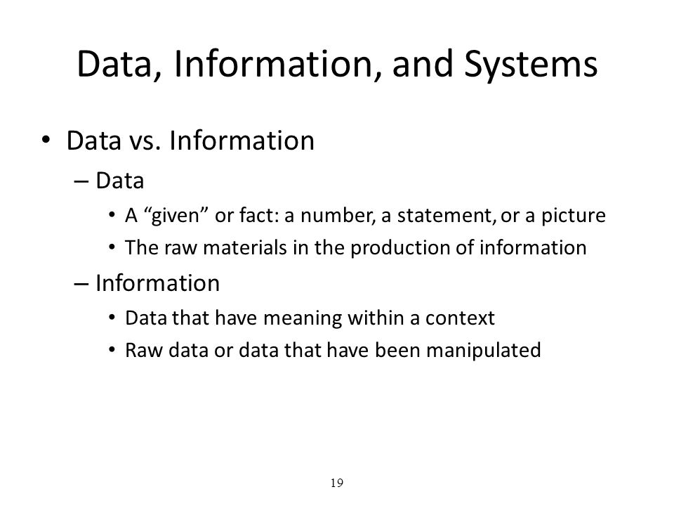 Data, Information, and Systems