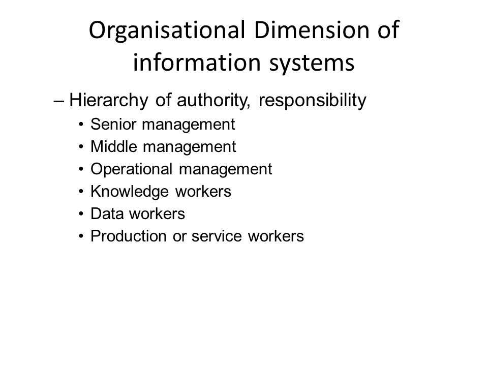Organisational Dimension of information systems