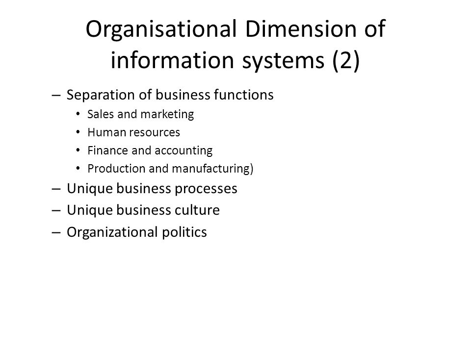 Organisational Dimension of information systems (2)