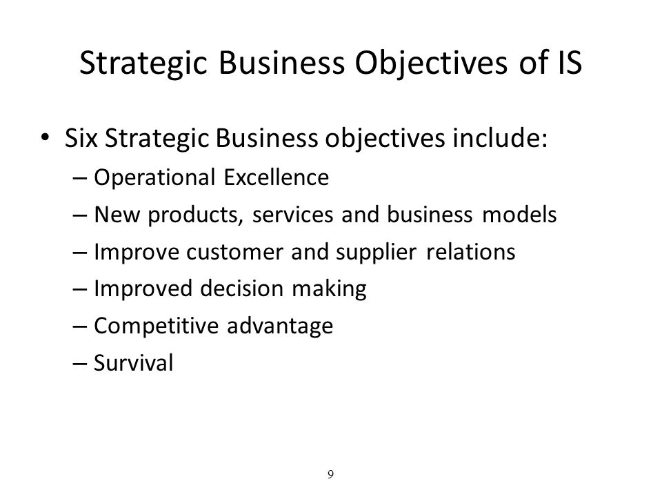 Strategic Business Objectives of IS