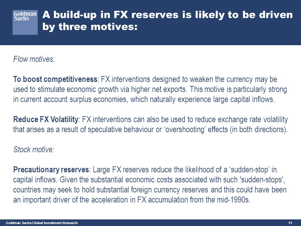 A build-up in FX reserves is likely to be driven by three motives: