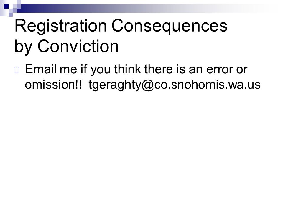 Registration Consequences by Conviction