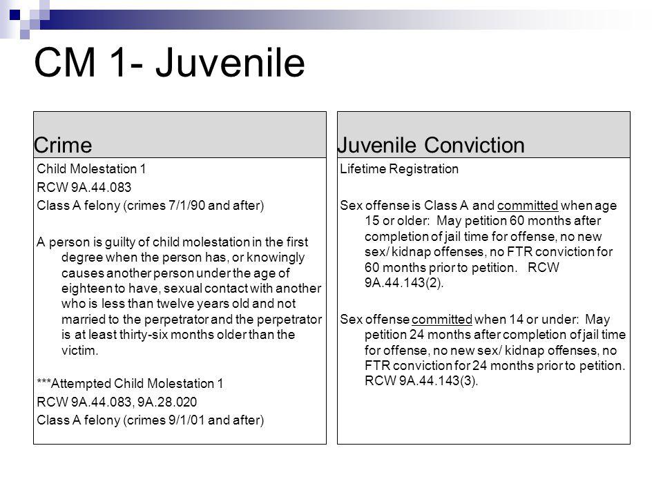 CM 1- Juvenile Crime Juvenile Conviction Child Molestation 1