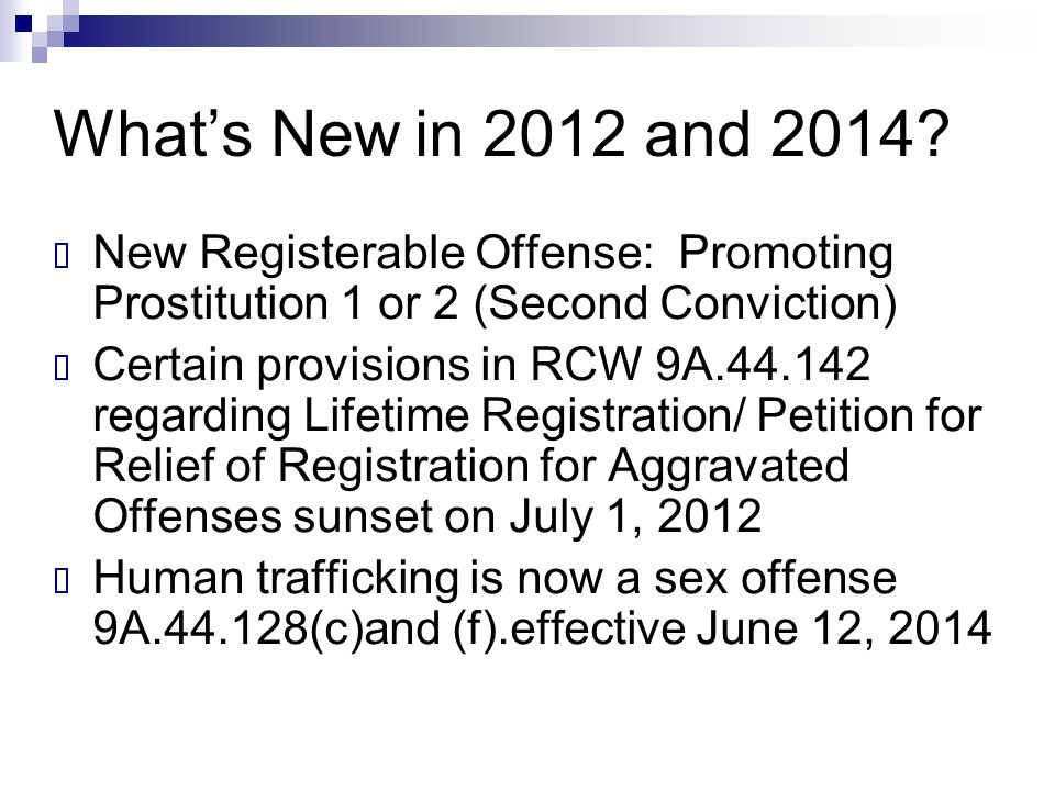 What's New in 2012 and 2014 New Registerable Offense: Promoting Prostitution 1 or 2 (Second Conviction)