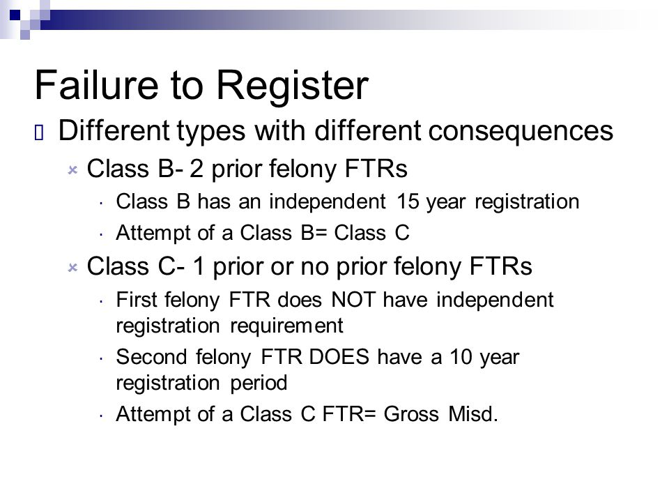 Failure to Register Different types with different consequences