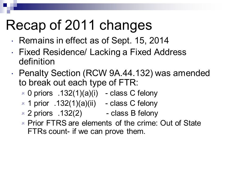 Recap of 2011 changes Remains in effect as of Sept. 15, 2014