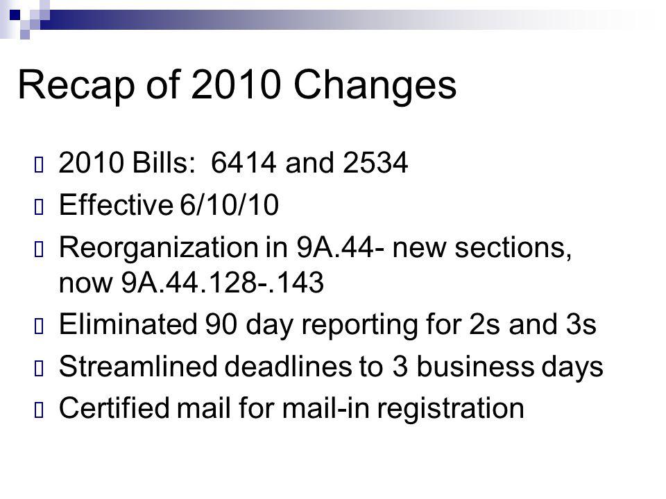 Recap of 2010 Changes 2010 Bills: 6414 and 2534 Effective 6/10/10