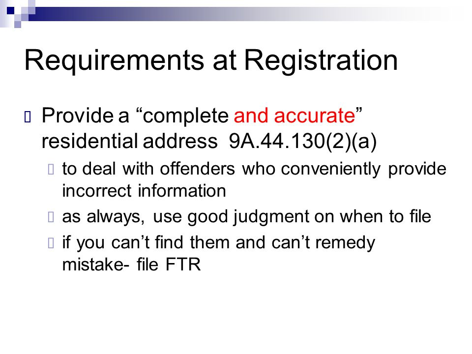 Requirements at Registration