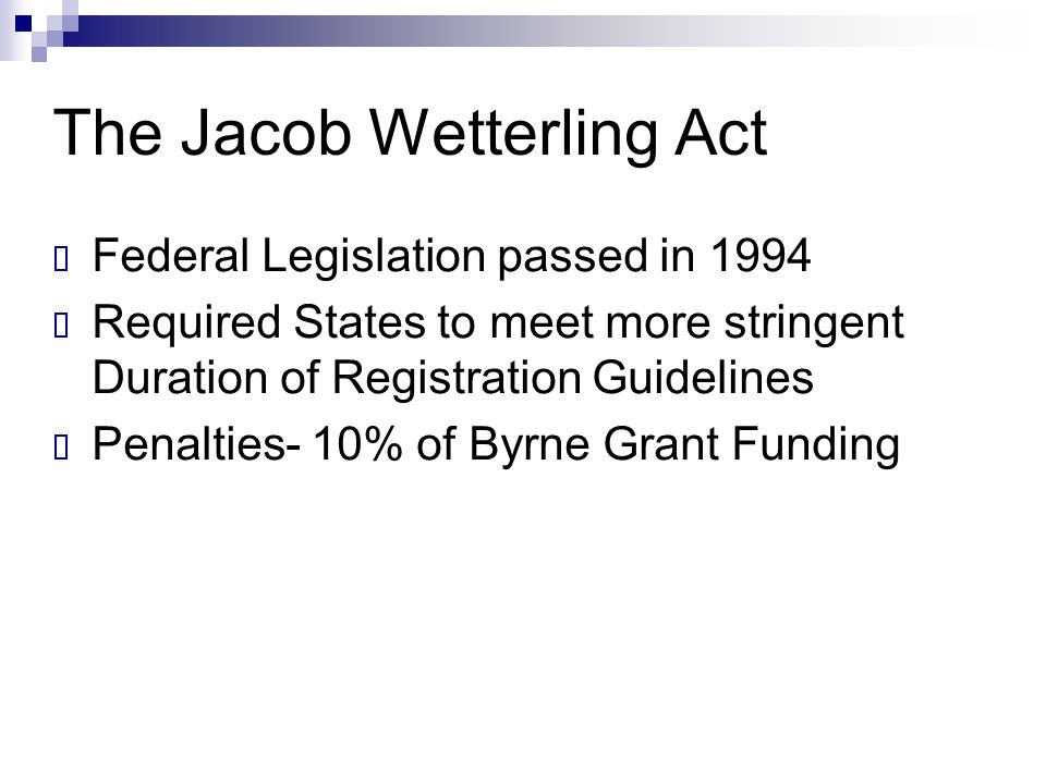 The Jacob Wetterling Act