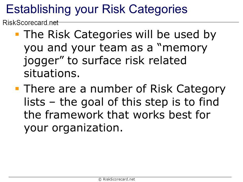 Establishing your Risk Categories