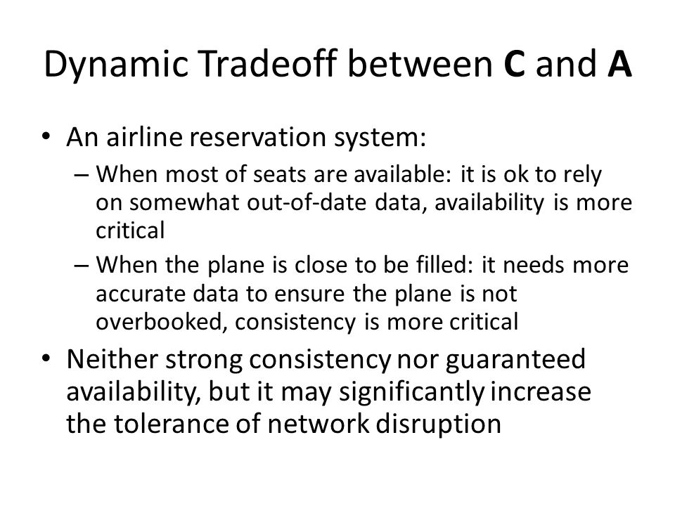 Dynamic Tradeoff between C and A