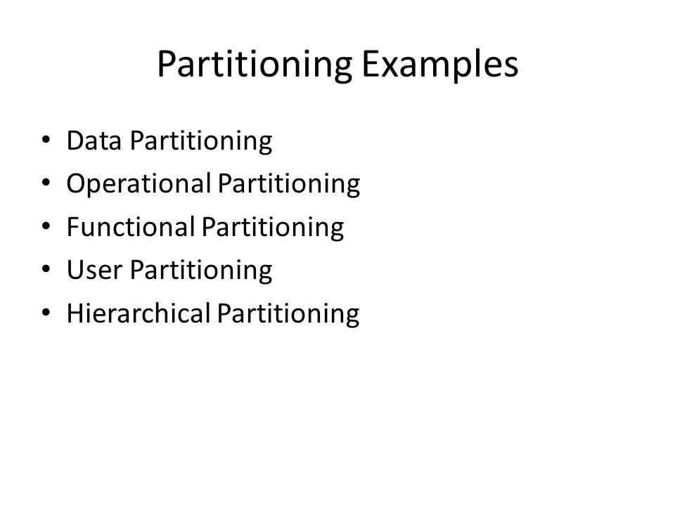 Partitioning Examples