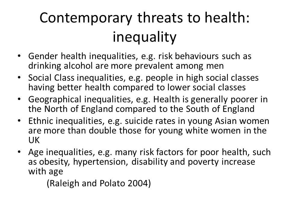Contemporary threats to health: inequality