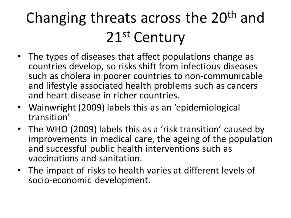 Changing threats across the 20th and 21st Century