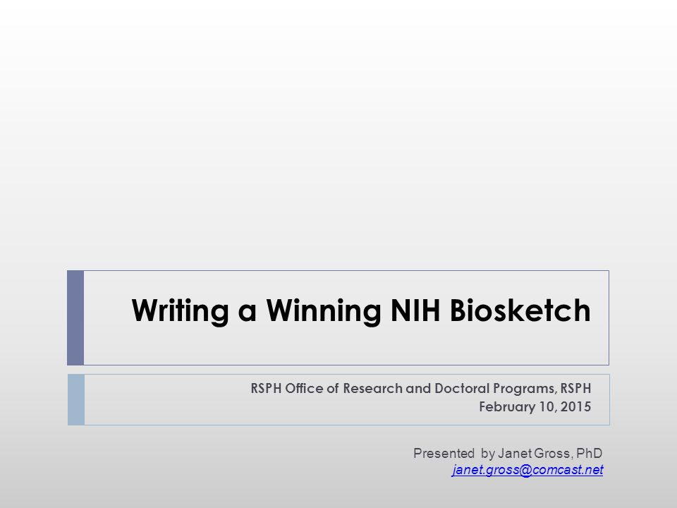 Writing a Winning NIH Biosketch
