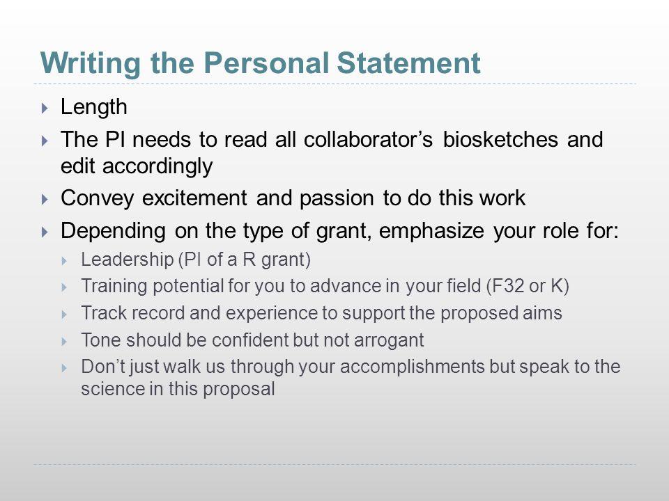 Nih Biosketch Personal Statement
