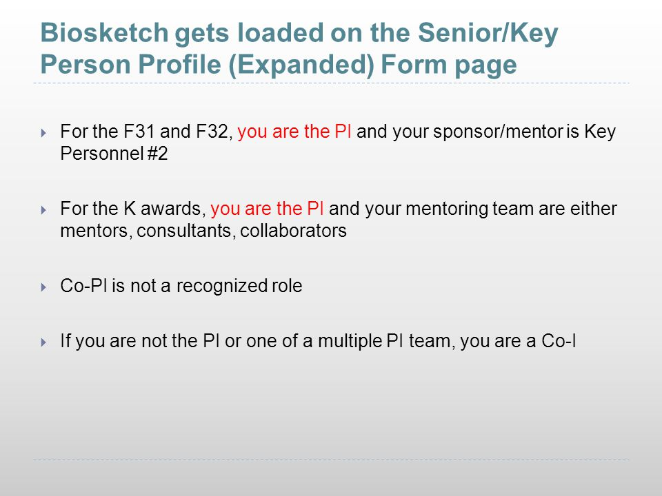 Biosketch gets loaded on the Senior/Key Person Profile (Expanded) Form page