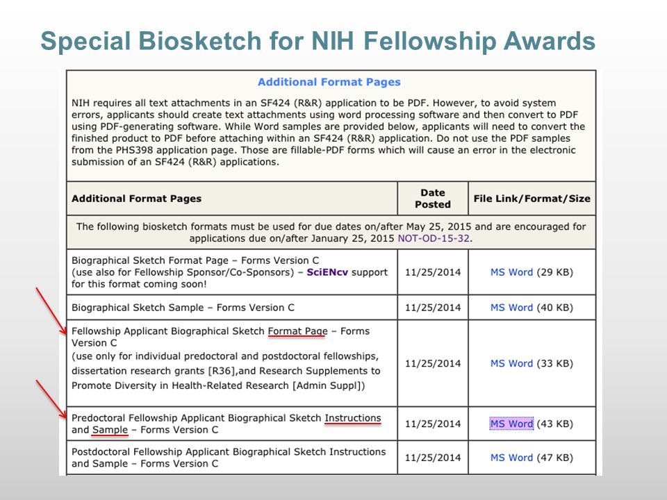 Special Biosketch for NIH Fellowship Awards