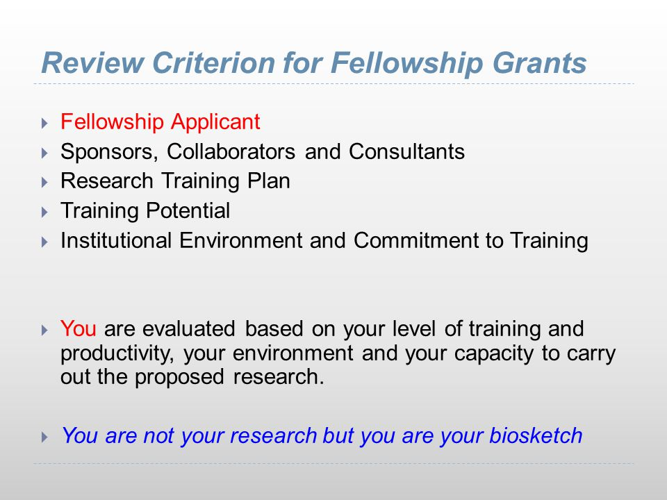 Review Criterion for Fellowship Grants