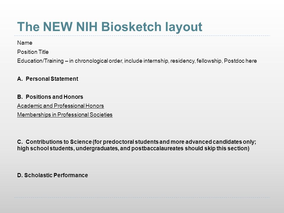 The NEW NIH Biosketch layout