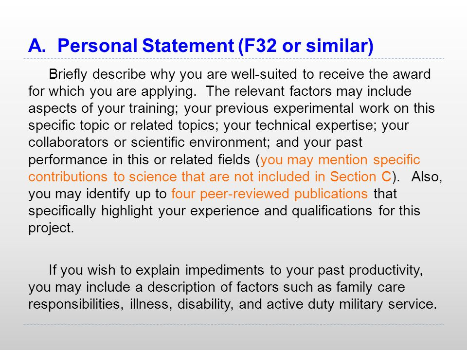 A. Personal Statement (F32 or similar)