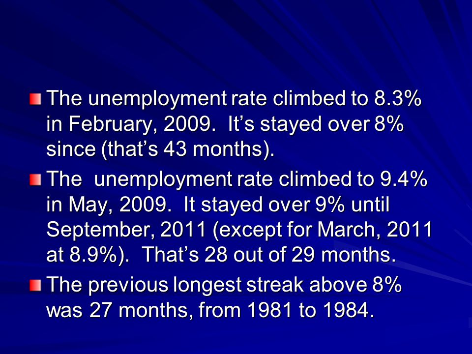 The unemployment rate climbed to 8. 3% in February, 2009