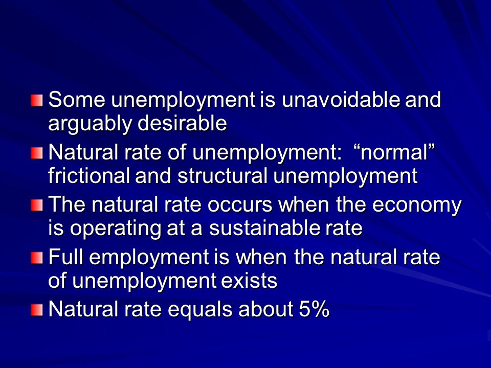 Some unemployment is unavoidable and arguably desirable