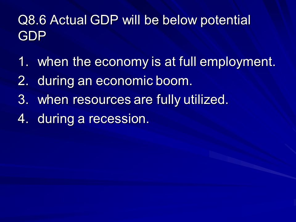 Q8.6 Actual GDP will be below potential GDP