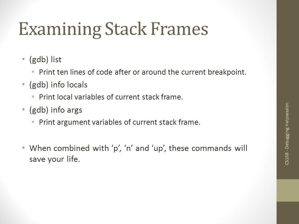 Examining Stack Frames