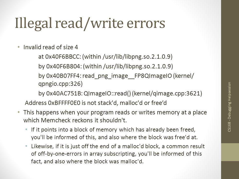 Illegal read/write errors
