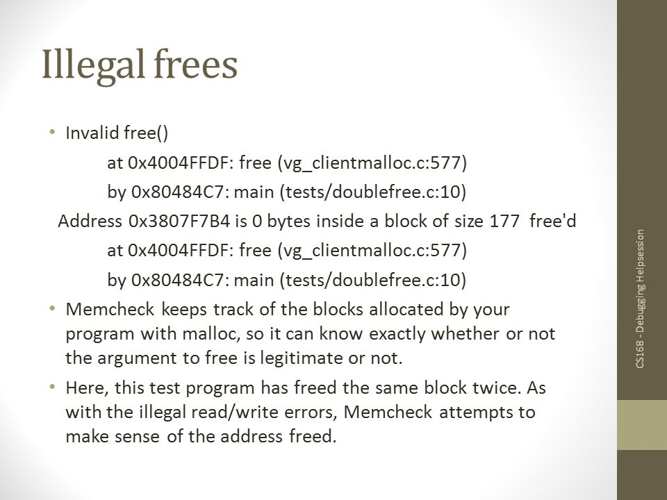 Illegal frees Invalid free()