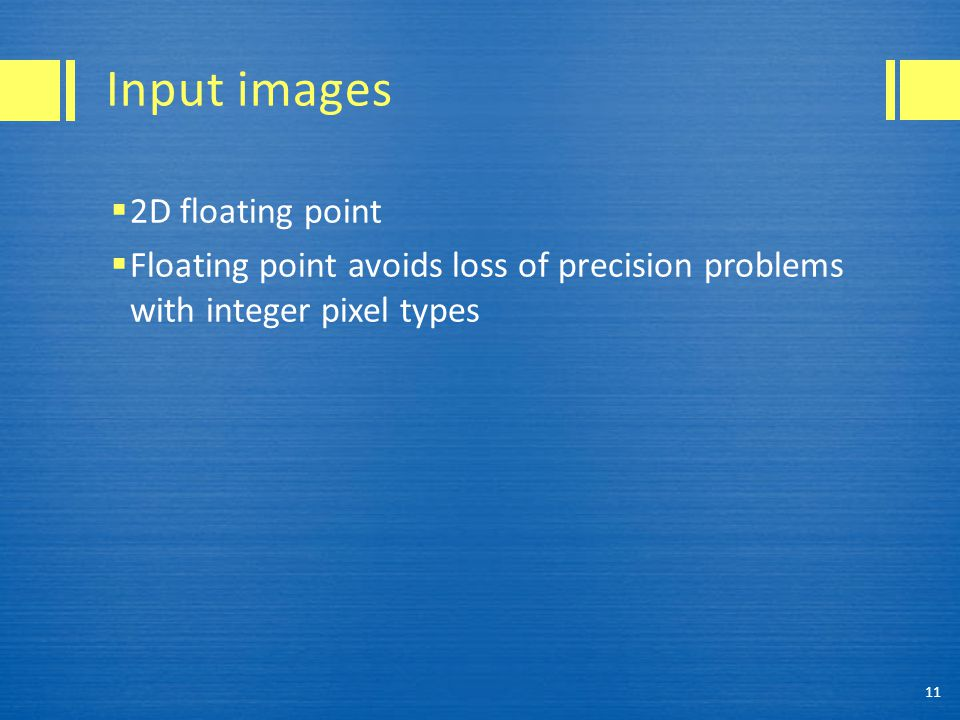 Input images 2D floating point