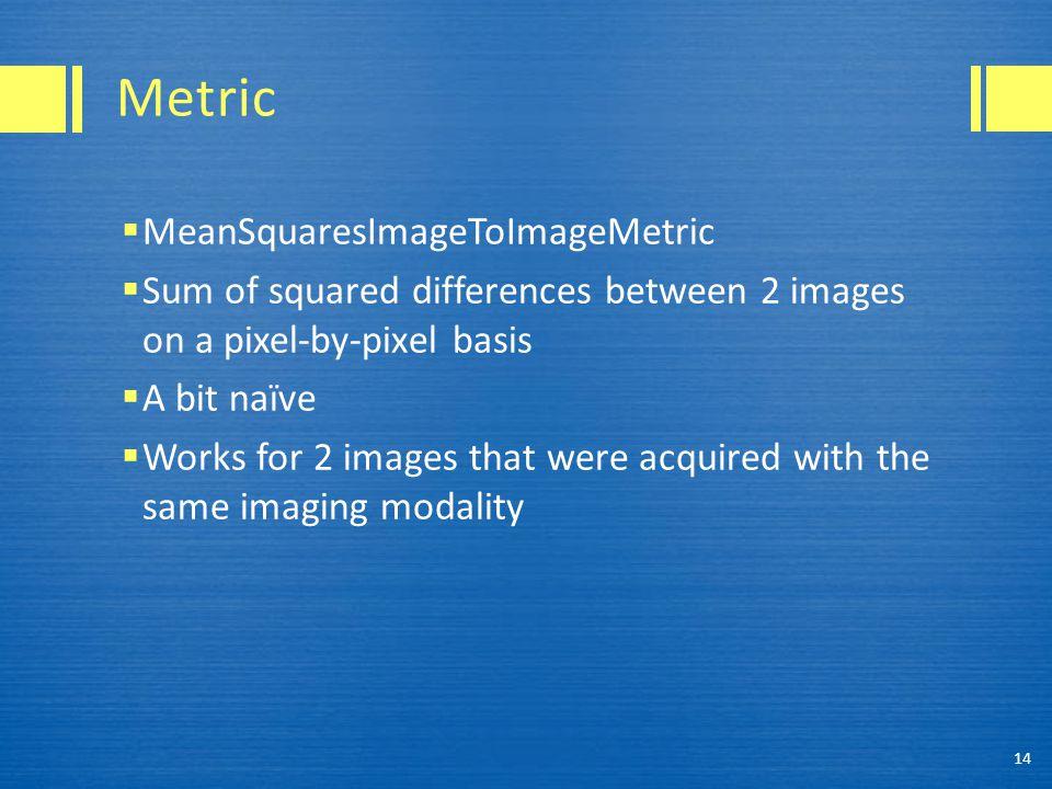 Metric MeanSquaresImageToImageMetric