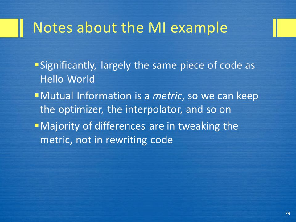 Notes about the MI example