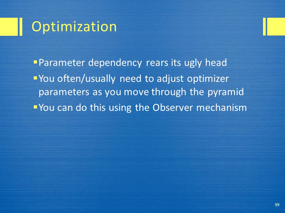 Optimization Parameter dependency rears its ugly head