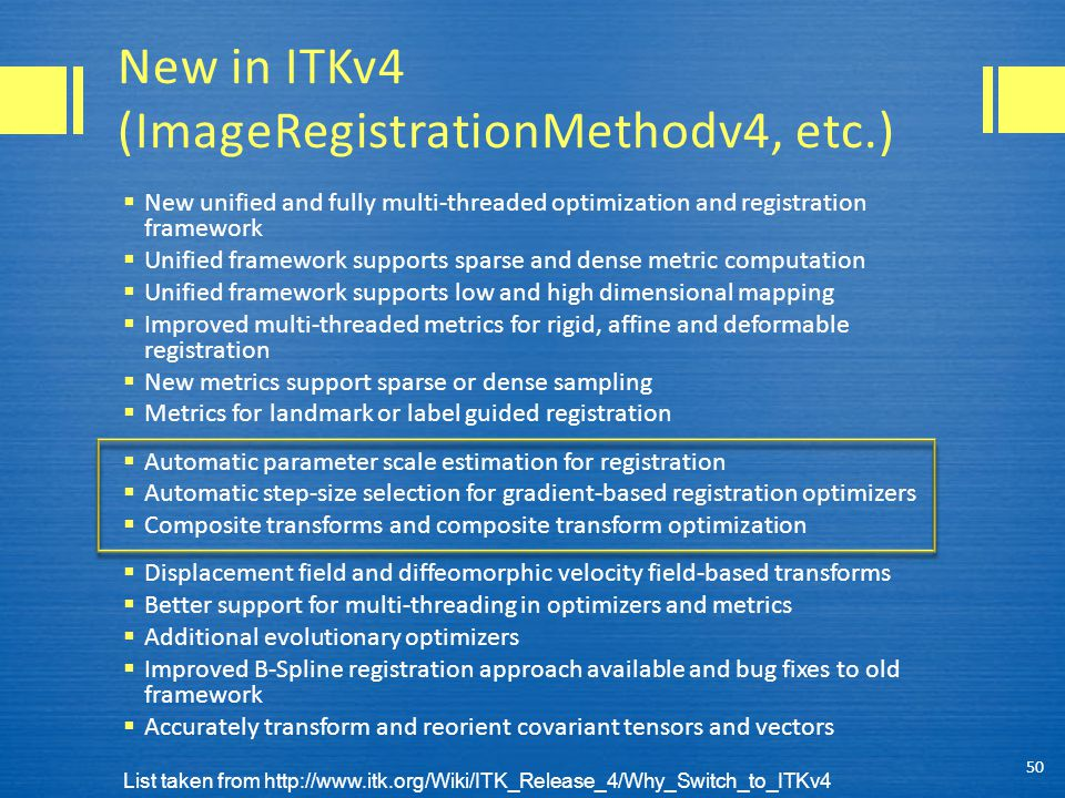 New in ITKv4 (ImageRegistrationMethodv4, etc.)