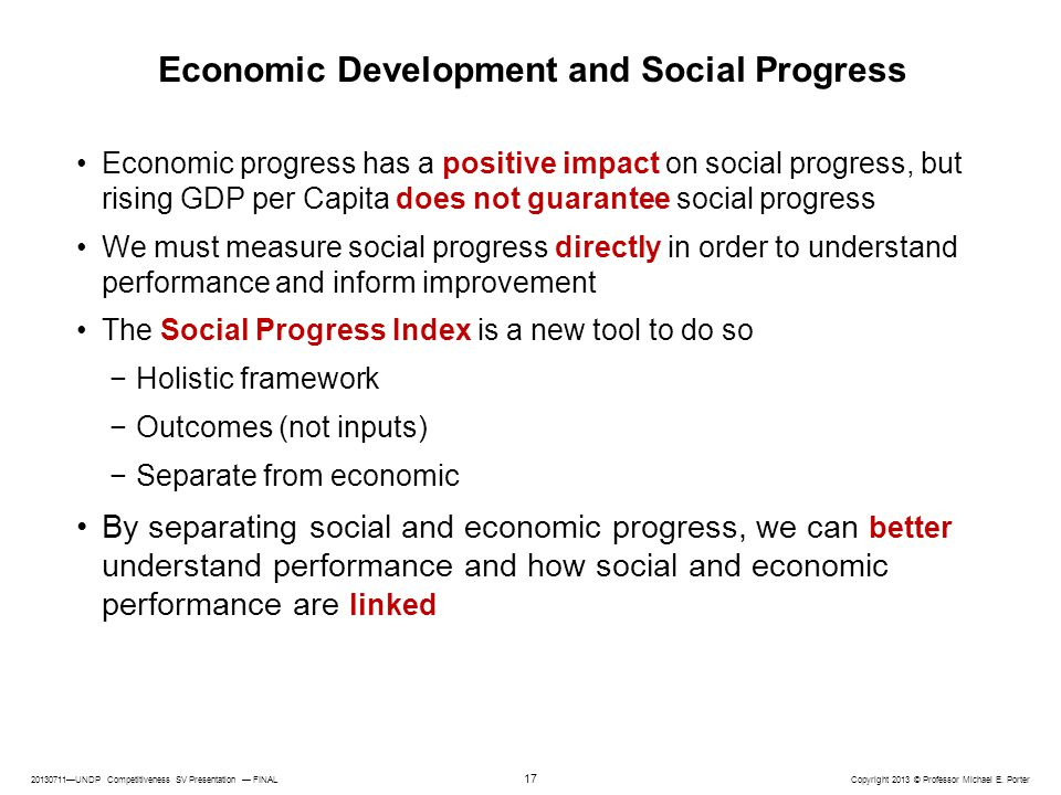 Economic Development and Social Progress