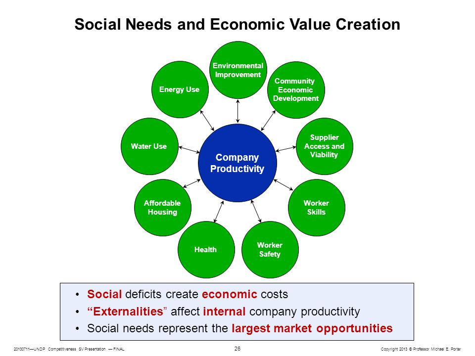 Social Needs and Economic Value Creation