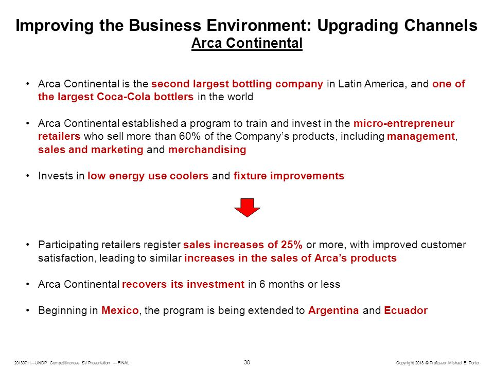 Improving the Business Environment: Upgrading Channels Arca Continental